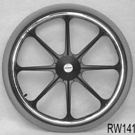 RW143 22 x 1 3/8″ 8 SPOKE MAG Flush Hub For 7/16″ Axle Urethane Street Tire