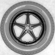 RW021 12 1/2 x 2 1/4″ 5 SPOKE MAG Flush Hub Free Spin 1/2″ Axle Urethane Knobby Tire